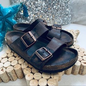 BIRKENSTOCK Double Strap Brown Leather Sandals GUC